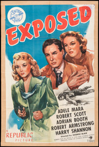 """Exposed (Republic, 1947). Fine- on Kraft Paper. One Sheet (27"""" X 40.5""""). Crime. From the Collection of Frank B..."""