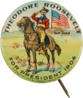 Political:Pinback Buttons (1896-present), Theodore Roosevelt: San Juan Hill Picture Pin. ...