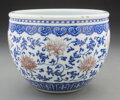 Ceramics & Porcelain, A Chinese Blue and White and Iron Red Fish Bowl