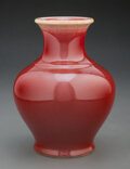 Ceramics & Porcelain, A Chinese Oxblood Vase 6-3/4 x 5-1/4 inches (17...