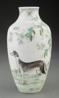 A Chinese Enameled Lang Shining Style Hound Vase Marks: four-character Qianlong mark 8-3/4 x 4 inches (22.2 x