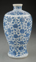 Ceramics & Porcelain, A Chinese Blue and White Lotus Vase. 10-1/2 x 6 inches (26.7 x 15.2 cm). ...
