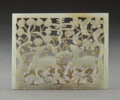 Carvings, A Chinese Celadon Jade Deer Plaque, Ming Dynasty. 2-1/4 x 3 x 0-1/4 inches (5.7 x 7.6 x 0.6 cm). ...