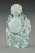 Carvings, A Chinese Aquamarine Snuff Bottle. 3 x 1-3/4 x 0-1/2 inches (7.6 x 4.4 x 1.3 cm). ...