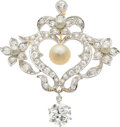 Estate Jewelry:Brooches - Pins, Edwardian Diamond, Pearl, Platinum-Topped Gold Pendant-Brooch . ...