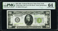Fr. 2054-B $20 1934 Federal Reserve Note. PMG Choice Uncirculated 64
