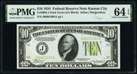 Fr. 2005-J $10 1934 Federal Reserve Note. PMG Choice Uncirculated 64 EPQ