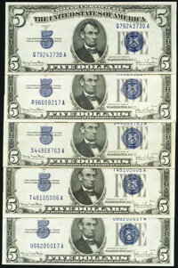 Fr. 1654 $5 1934D Wide I Silver Certificates. Five Examples. About Uncirculated; Crisp Uncirculated or Better (4). ... (...