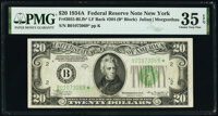 Fr. 2055-B* $20 1934A Federal Reserve Star Note. Late Finished Back Plate 204. PMG Choice Very Fine 35 EPQ
