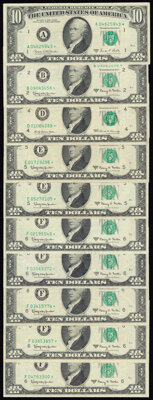 Fr. 2017-B*; E* (2); F* (5) $10 1963A Federal Reserve Star Notes. Very Fine; Fr. 2018-D* $10 1969 Federal Reserve Star N...