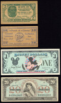 Military Payment Certificates:Series 661, Series 661 $20 Fine; . Disney Dollar $1 Series 1987 Rodgers R-001 Very Choice New;. Two Wooden Certificates Not Graded... (Total: 4 items)