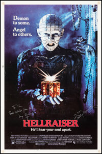 """Hellraiser (New World, 1987). Rolled, Fine+. Autographed One Sheet (27"""" X 41"""") SS. Horror"""