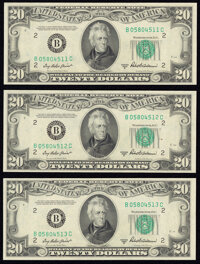Fr. 2061-B $20 1950B Federal Reserve Notes. Three Examples. Choice Crisp Uncirculated. ... (Total: 3 notes)