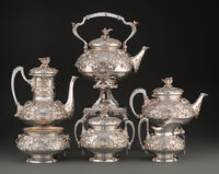 A Six-Piece Bird's Nest Silver Tea and Coffee Service Attributed to Tiffany & Co., Retailed ... (Total: 7)