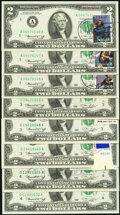 Postally Cancelled Fr. 1935-A (3); C (3); D (2); F (2); L (6) $2 1976 Federal Reserve Note. About Uncirculated-Crisp Unc...