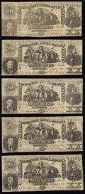 Confederate Notes:1861 Issues, CT20/142 Counterfeit $20 1861 Five Examples Fine.. ... (Total: 5 notes)