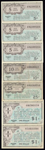 Military Payment Certificates:Series 461, Assortment of Seven Series 461 Military Payment Certificates Fine-Very Fine or Better.. 5¢ (3); 10¢; 25¢; $1 (2).. ... (Total: 7 notes)