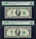 Small Size:Federal Reserve Notes, Fr. 2018-C* $10 1969 Federal Reserve Star Notes. Two Consecutive Examples. PMG Gem Uncirculated 66 EPQ.. ... (Total: 2 notes)