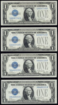 Small Size:Silver Certificates, Changeover Pair Fr. 1601/1602 $1 1928A/1928B Silver Certificates Choice CU;. Reverse Changeover Pair Fr. 1602/1601 $1 1928... (Total: 4 notes)