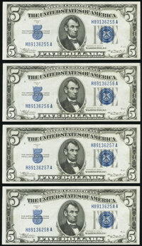 Fr. 1651 $5 1934A Silver Certificates. Four Consecutive Examples. Choice Crisp Uncirculated. ... (Total: 4 notes)