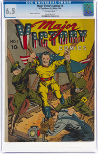 Major Victory Comics #1 (H. Clay Glover Co., 1944) CGC FN+ 6.5 Off-white pages