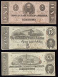 Confederate Notes:1863 Issues, T58 $20 1863 Fine-Very Fine;. T60 $5 1863 Very Fine;. T62 $1 1863 Very Fine.. ... (Total: 3 notes)