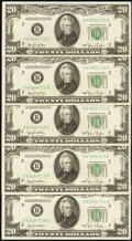 Small Size:Federal Reserve Notes, Fr. 2059-B $20 1950 Federal Reserve Notes. Five Consecutive Examples. Choice Crisp Uncirculated.. ... (Total: 5 notes)
