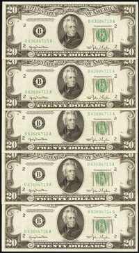 Fr. 2059-B $20 1950 Federal Reserve Notes. Five Consecutive Examples. Choice Crisp Uncirculated. ... (Total: 5 notes)