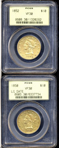 Liberty Eagles: , 1850 $10 Large Date VF30 PCGS, sharp for the grade, rose-... (2Coins)