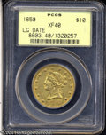 Liberty Eagles: , 1850 $10 Large Date XF40 PCGS. Lustrous for the assigned ...
