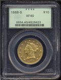 Liberty Eagles: , 1868-S $10 XF40 PCGS. A scarce, low mintage issue with ...