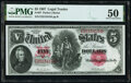 Large Size:Legal Tender Notes, Fr. 87 $5 1907 Legal Tender PMG About Uncirculated 50.. ...