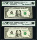 Small Size:Federal Reserve Notes, Radar Serial Numbers 87233278 and 87244278 Fr. 1921-B $1 1995 Federal Reserve Notes. PMG Gem Uncirculated 66 EPQ.. ... (Total: 2 notes)