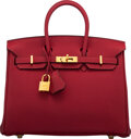 """Luxury Accessories:Bags, Hermès 25cm Rouge Grenat Togo Leather Birkin Bag with Gold Hardware. X, 2016. Condition: 1. 10"""" Width x 7.5"""" Heigh..."""