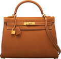 """Luxury Accessories:Bags, Hermès 32cm Natural Clemence Leather Retourne Kelly Bag with Gold Hardware. K Square, 2007. Condition: 3. 12.5"""" Wi..."""