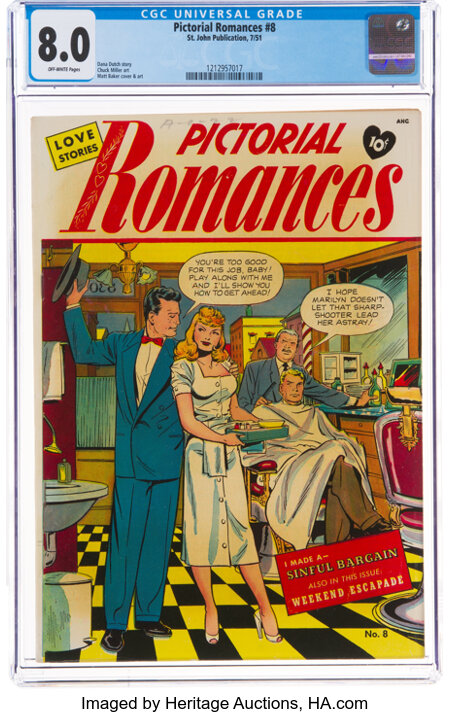 Pictorial Romances #8 (St. John, 1951) CGC VF 8.0 Off-white pages....