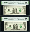 Small Size:Federal Reserve Notes, Radar Serial Numbers 87255278 and 87266278 Fr. 1921-B $1 1995 Federal Reserve Notes. PMG Gem Uncirculated 66 EPQ.. ... (Total: 2 notes)