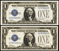 Fr. 1600 $1 1928 Silver Certificates. Two Examples. Crisp Uncirculated or Better. ... (Total: 2 notes)