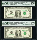 Small Size:Federal Reserve Notes, Radar Serial Numbers 88311388 and 88322388 Fr. 1921-B $1 1995 Federal Reserve Notes. PMG Graded Gem Uncirculated 65 EPQ; Super... (Total: 2 notes)