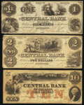 Montgomery, AL- Central Bank of Alabama $1; $2; $10 1853-61 Fine or Better. ... (Total: 3 notes)