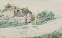 William Louis Sonntag, Jr. (American, 1869-1898) The Turn of the Road Watercolor on paper 14 x 21 inches (35.6 x 53.3