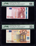 European Union Central Bank, Greece 10; 50 Euro 2002 Pick 2y; 4y Two Examples PMG Gem Uncirculated 66 EPQ; About U