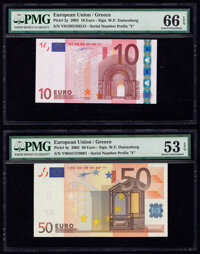 European Union Central Bank, Greece 10; 50 Euro 2002 Pick 2y; 4y Two Examples PMG Gem Uncirculated 66 EPQ; About Uncircu...