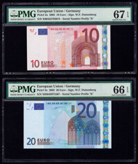 European Union Central Bank, Germany 10; 20; 50; 20 Euro 2002 (3); 2015 Pick 2x; 3x; 4x; 22r Four Examples PMG Superb Ge...