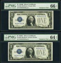 Changeover Pair Fr. 1602/1603 $1 1928B/1928C Silver Certificates. PMG Gem Uncirculated 66 EPQ; Choice Uncirculated 64 EP...