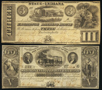 Columbus, IN- Madison & Indianapolis Rail Road Company $5 May 3, 1843 Very Fine-Extremely Fine; Indianapolis, IN- Ex...