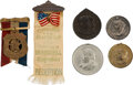 Political:Tokens & Medals, Grover Cleveland: Collection of Four Inaugural Tokens and Two Badges....