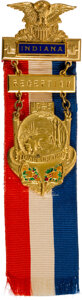 Political:Ribbons & Badges, 1925 Inaugural Badge For Indiana Governor. ...