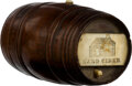 Political:3D & Other Display (pre-1896), William Henry Harrison: Wood Hard Cider Barrel with Carvings....