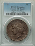 Peace Dollars, 1921 $1 -- Cleaning -- PCGS Genuine. XF Details. Mintage 1,006,473. ...